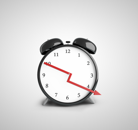 down beat: alarm clock with down red arrow Stock Photo