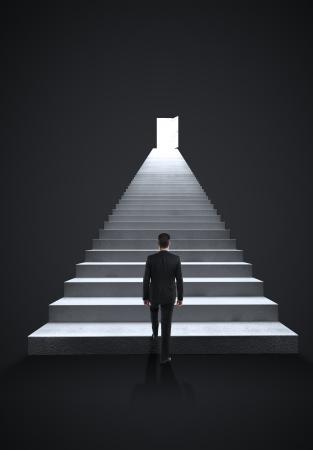 stairway: businessman walking on steps to door