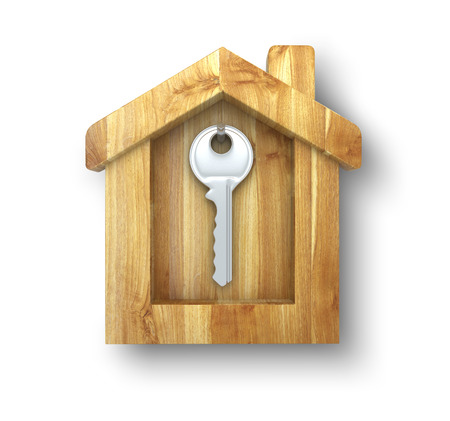 key hanging in a wooden house photo