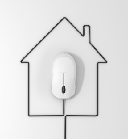 scroller: mouse and cables in form of house on a white background Stock Photo
