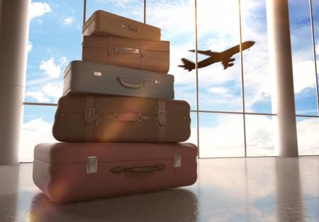 reistassen in de luchthaven en het vliegtuig in de lucht
