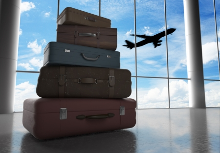 travel bags in airport and airliner in sky
