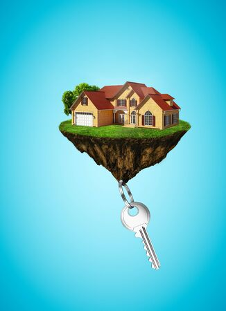 key to freedom: island in sky with house and key