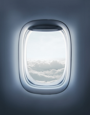 High resolution open aircrafts airplane window Stock Photo