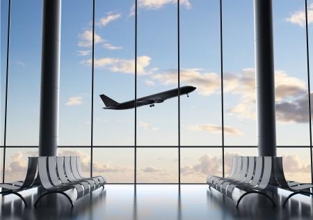 luchthaven interieur met een groot raam en vliegtuig Stockfoto