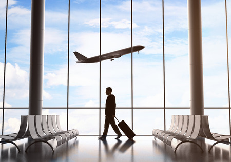 acceleration: businessman in airport and airplane in sky