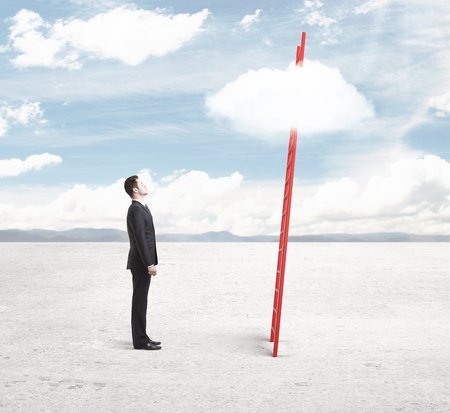 businessman  looking on ladder with cloud photo