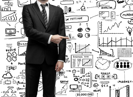 businessman standing and showing  finger to business concept photo