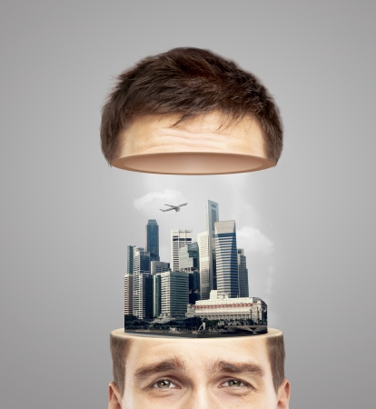 half head with modern architecture Stock Photo - 23371409