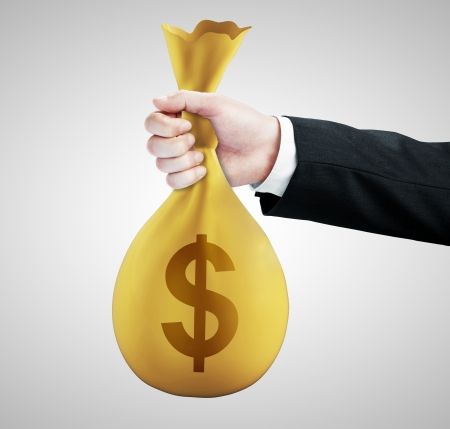 burlap bag: hand handing money pack with dollar symbol