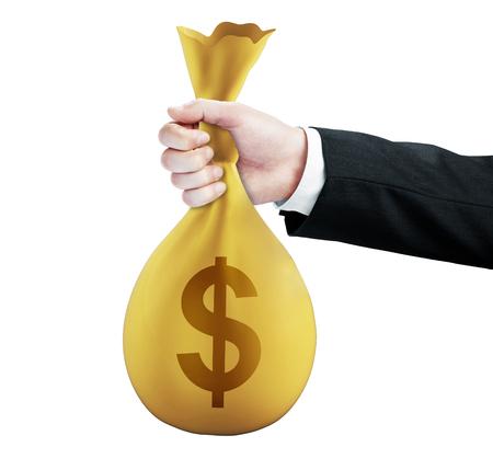 handing: hand handing money pack with dollar