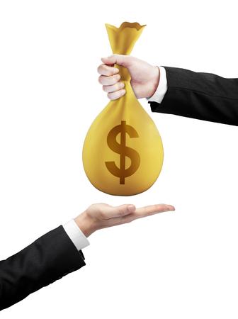 burlap bag: Hand bag of money with dollar transfers