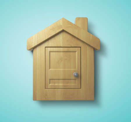wooden house on a blue  photo