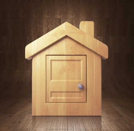 wooden house in wooden room photo
