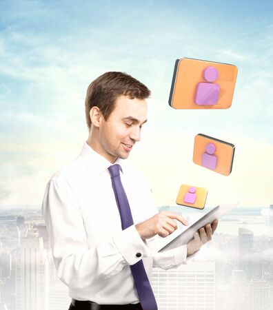 businessman holding tablet , social media concept photo