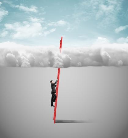 climbing ladder: businessman climbing on ladder to clouds