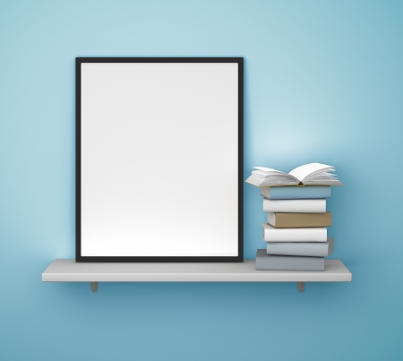 shelf with frame and book on a blue wall photo