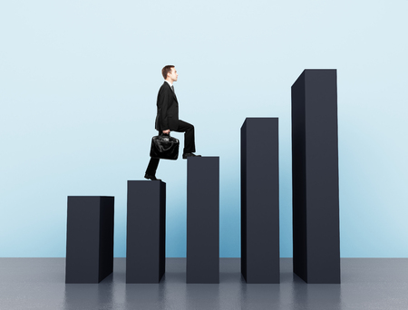 incentive: businessman climbing a chart column