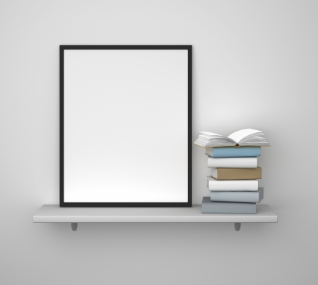 shelf with frame and book on a gray wall photo