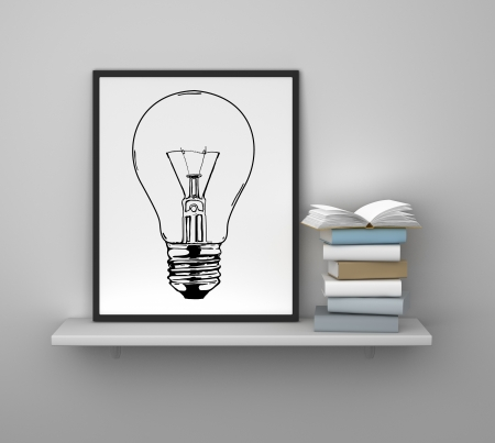 shelf with frame and book, idea concept photo