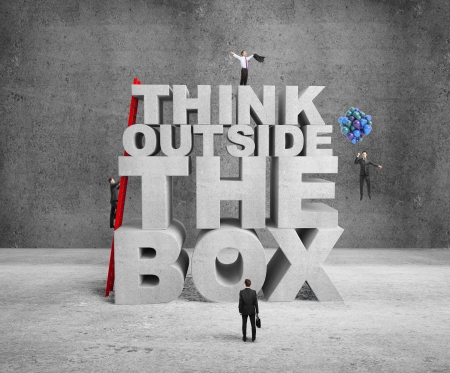 infeasible: businessman building think outside the box