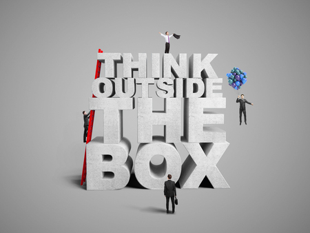 infeasible: businessman building think outside the box, 3d render