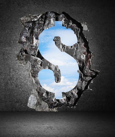 concrete wall with a hole in dollar form to sky photo