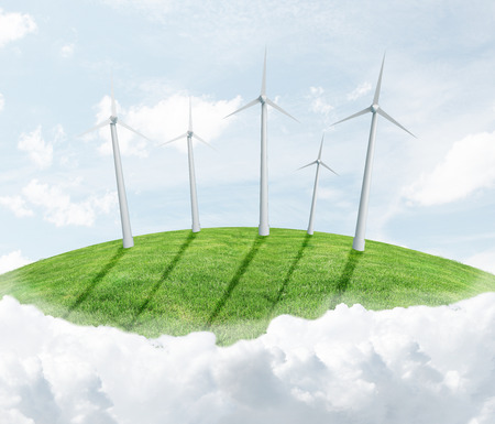 landscape with eco wind turbine photo
