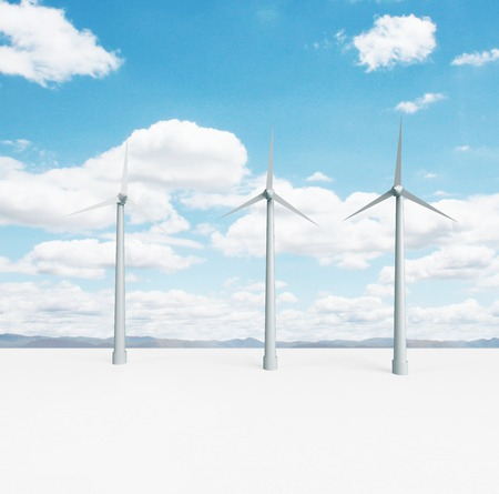 landscape with big eco wind turbine photo