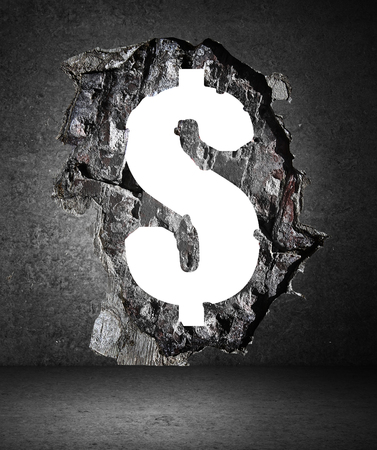 broken wall: concrete wall with a hole in dollar form Stock Photo
