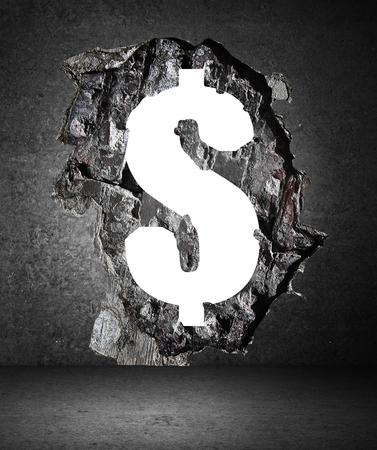 pared rota: muro de hormigón con un agujero en forma de dólar