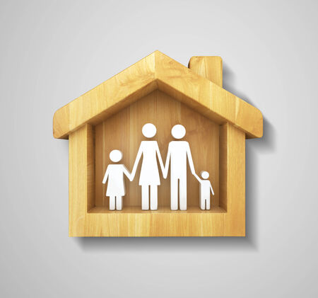 happy family in house on gray background Stock Photo - 23755978