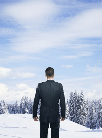 schneeberg: businessman looking at beautiful winter forest