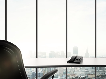 business office and city in window photo