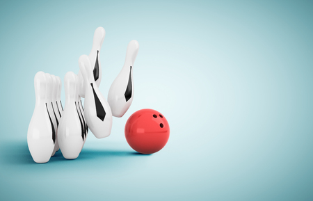 skittle and bowling ball on blue floor Stock Photo - 23926180
