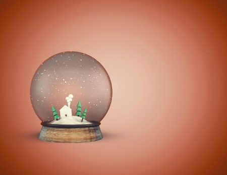 foreshadowing: christmass glass ball with house and trees on orange background