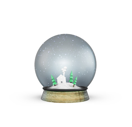 forewarning: christmass glass ball with house and trees on white background Stock Photo