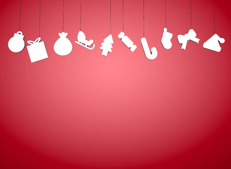 christmass: christmass paper gifts on red background Stock Photo