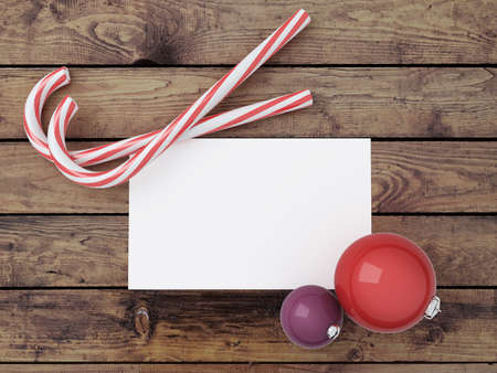 candy merry christmas, paper and toy on wooden background Stock Photo - 23927731