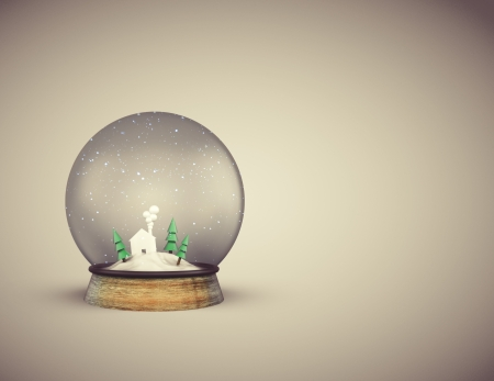 foreshadowing: christmass glass ball with house and trees