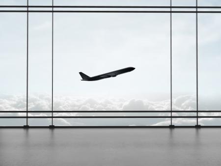 big window: airport with big window and airplane