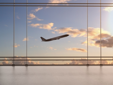 acceleration: airport with window and airplane