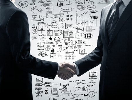 handshake on a business starstegy background photo