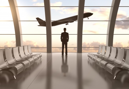 man in airport and airplane in sky Stock Photo - 24288018