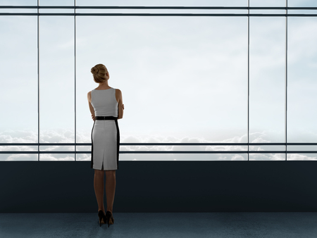 house render: businesswoman thinking in office and looking to window