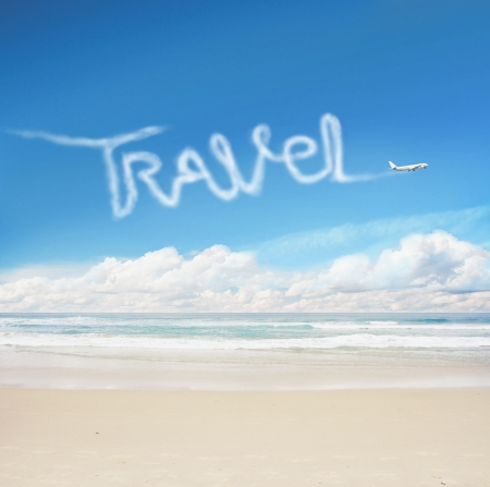 fuselage: plane in the sky drawing word travel Stock Photo