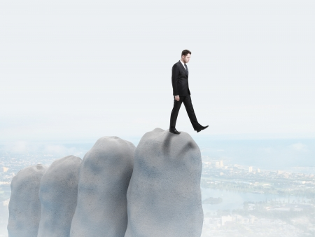 abyss: businessman falls into the abyss