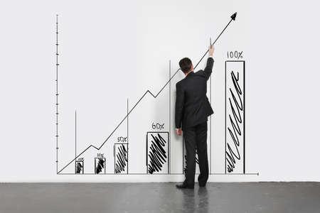 progress bar: businessman  drawing chart on wall