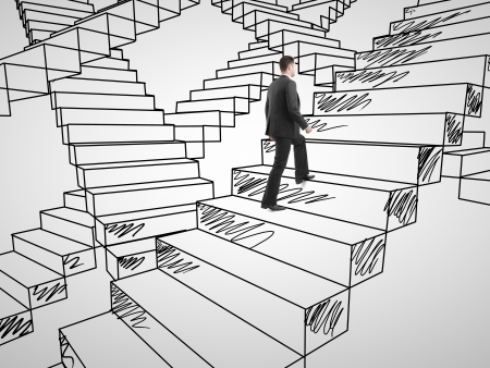 businessman climbing on drawing stairs photo