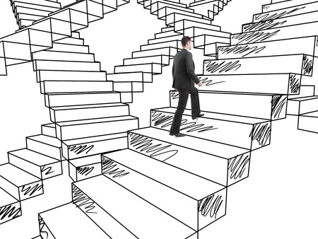 difficult journey: businessman in suit climbing on drawing stairs